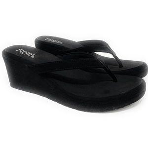 Flojos Women's Olivia Wedge Sandals Size 8 Black
